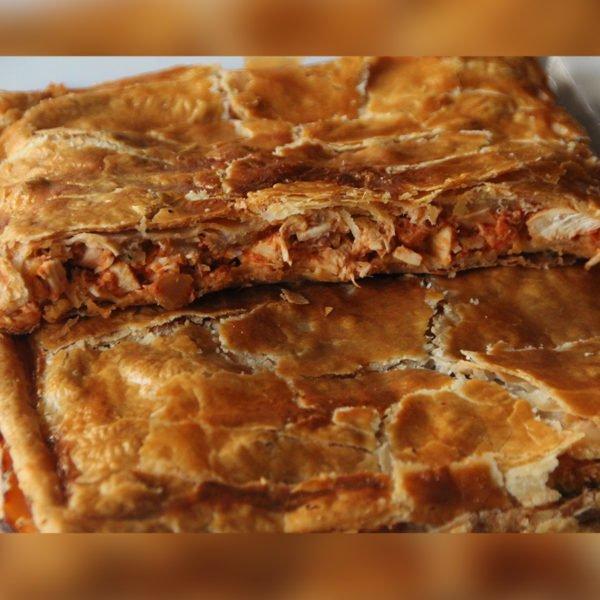Torta masa hojaldre pollo y manzana 1
